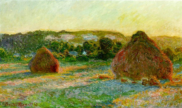 famous painting Wheatstacks (fim do verão) of Claude Monet
