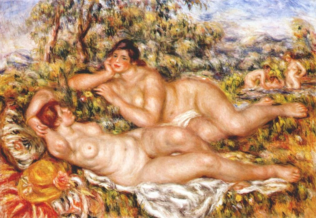 famous painting os grandes banhistas ( as ninfas ) of Pierre-Auguste Renoir
