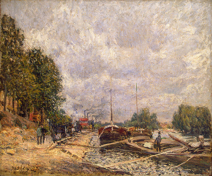 famous painting Barcaças no Billancourt of Alfred Sisley
