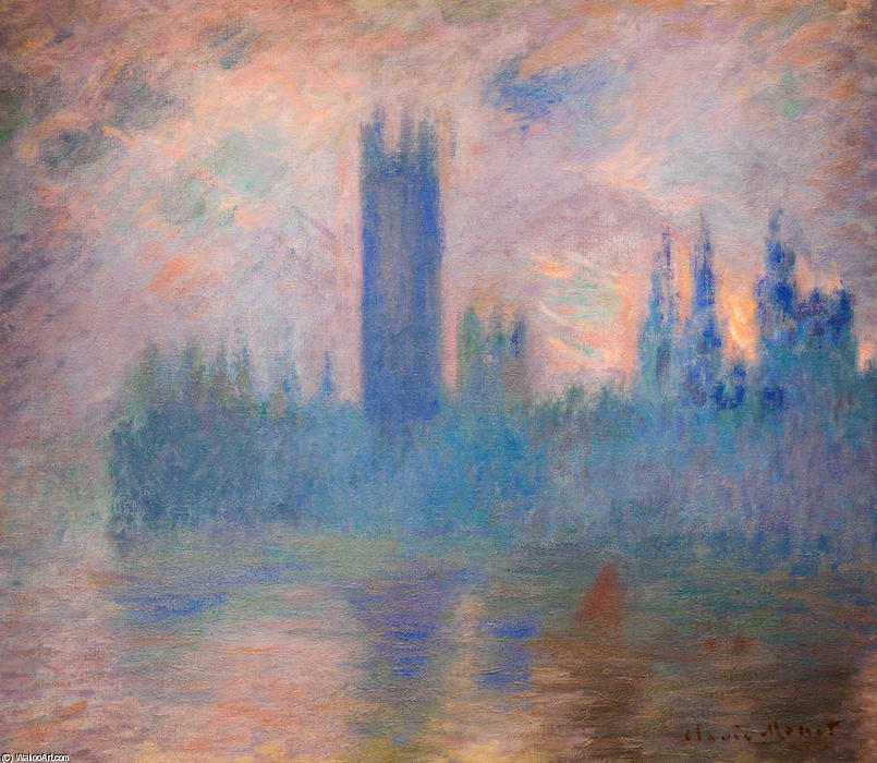 famous painting casas do parlamento , Westminster of Claude Monet