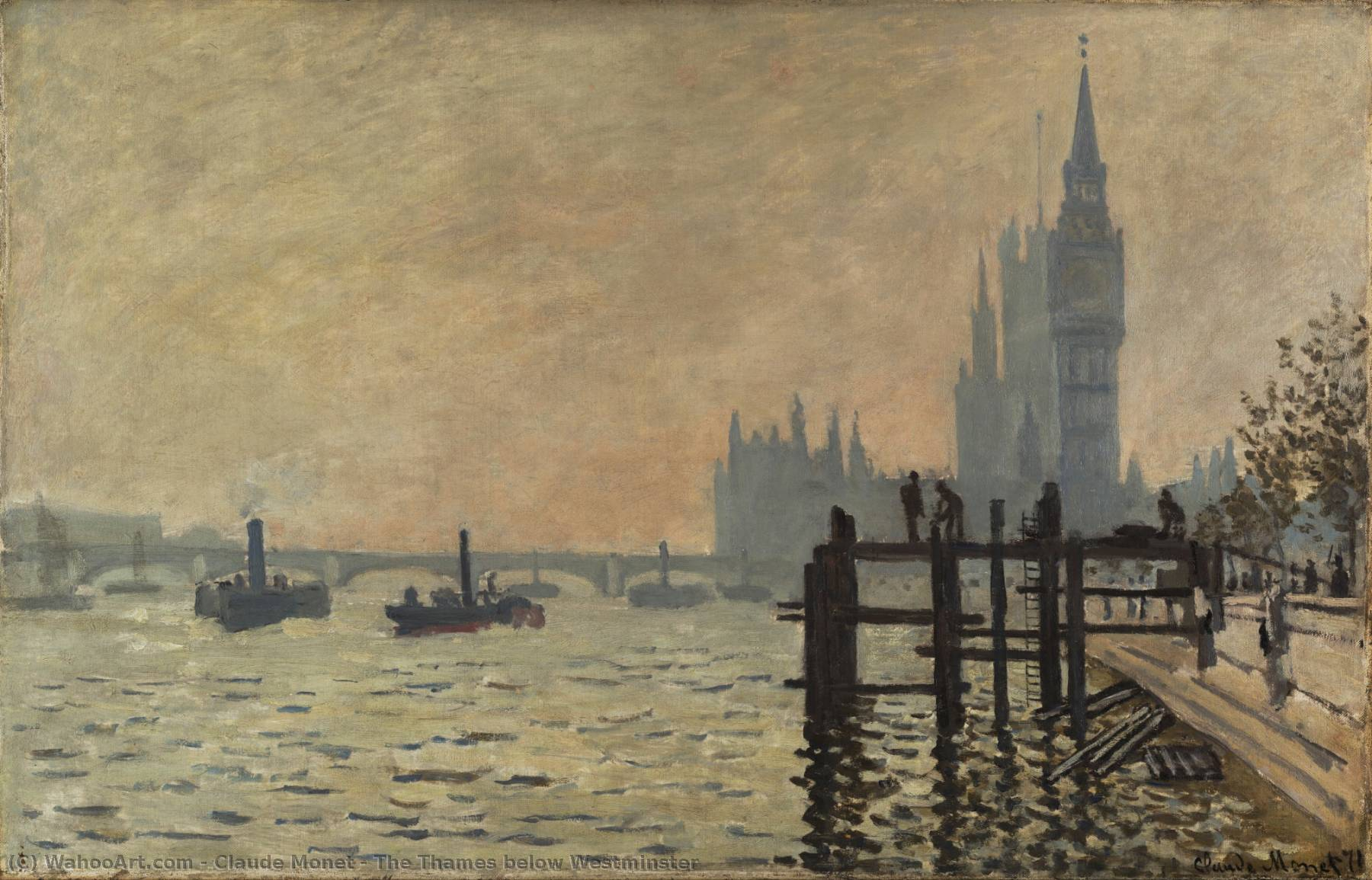 famous painting o tamisa abaixo de westminster of Claude Monet