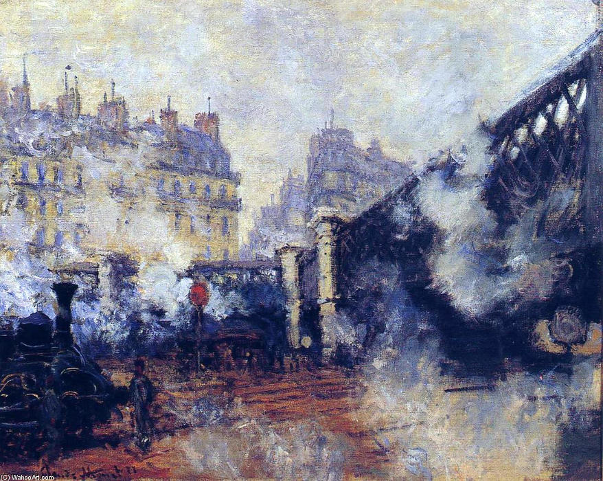 famous painting o pont o l'Europe , Gare Saint-Lazare of Claude Monet