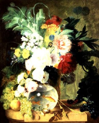 famous painting Still vida com flores e Fishbowl of Cornelis Kuypers